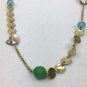 Park Lane Boho chic beaded gold tone green
